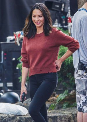 Olivia Munn - Filming her new TV show 'Six' in Vankuver