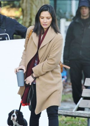 Olivia Munn - Filming scenes on the set of 'The Predator' in Vancouver