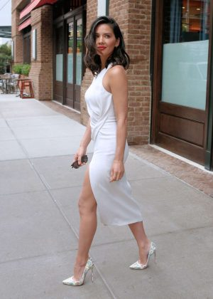 Olivia Munn in a cream dress out in New York City