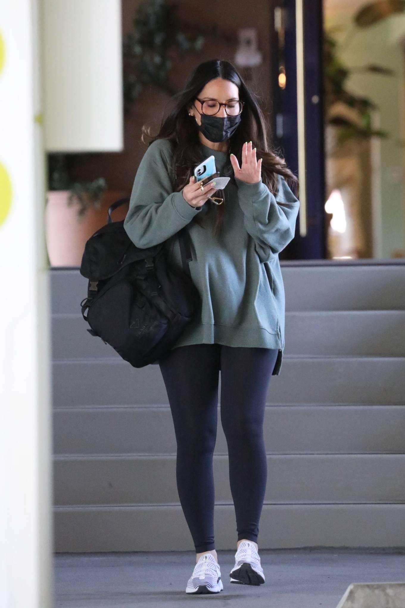 Olivia Munn 2021 : Olivia Munn – In a green sweatshirt and black leggings in Santa Monica-04