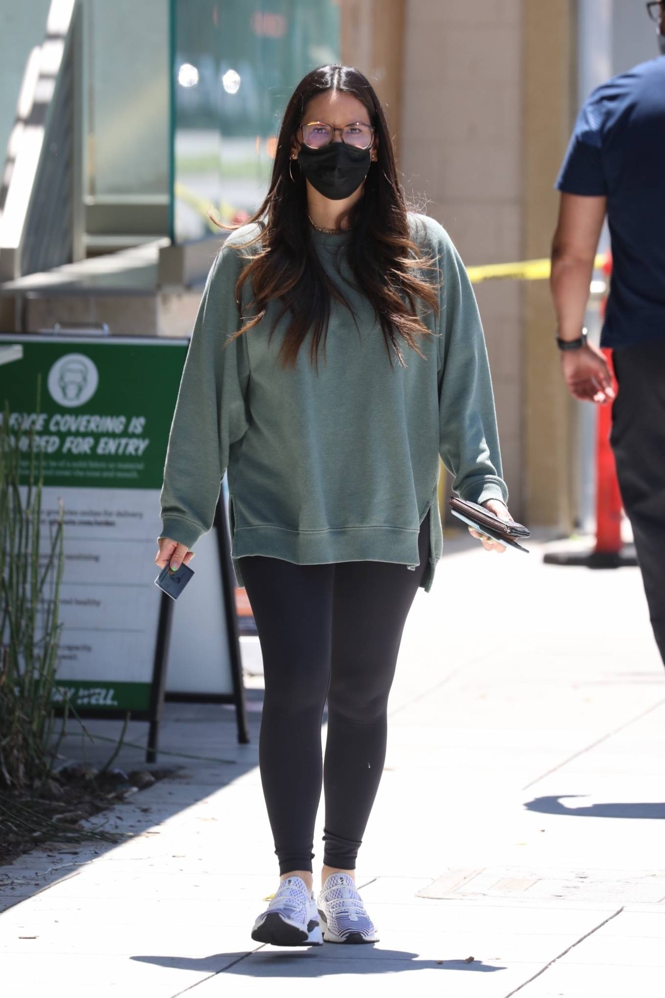 Olivia Munn 2021 : Olivia Munn – In a green sweatshirt and black leggings in Santa Monica-12