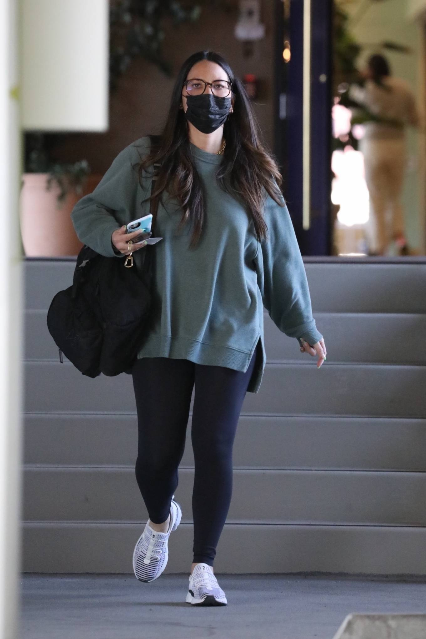 Olivia Munn 2021 : Olivia Munn – In a green sweatshirt and black leggings in Santa Monica-18