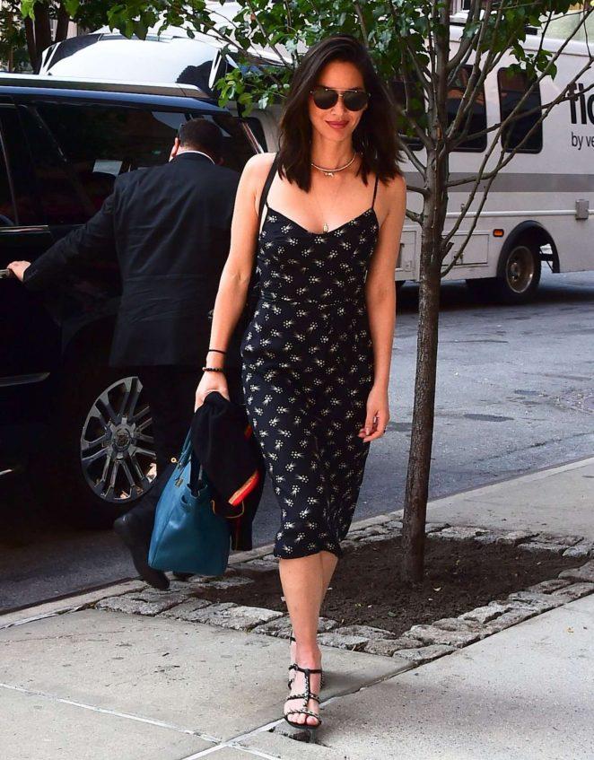 Olivia Munn in Black Dress Arrives at Her Hotel in New York