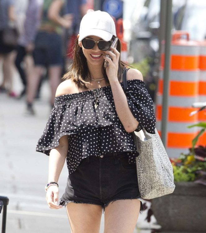 Olivia Munn in Black Shorts out in Toronto