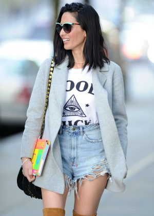 Olivia Munn in Cut-offs out in Vancouver