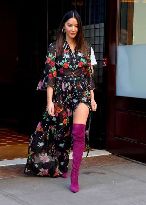 Olivia Munn in Floral Dress out in New York City