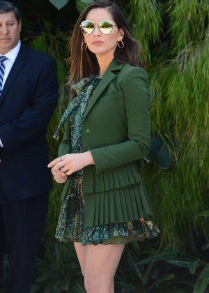 Olivia Munn in Green - Leaving a Party Honoring Eva Longoria in Beverly Hills