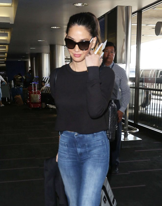 Olivia Munn in Jeans at LAX Airport in LA