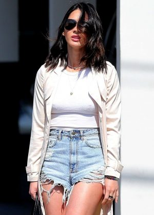 Olivia Munn in Jeans Shorts out in Los Angeles