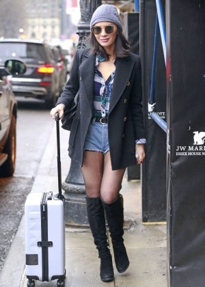 Olivia Munn in Jeans Shorts Out in New York