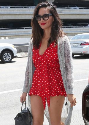 Olivia Munn in Red Mini Dress at LAX airport in LA