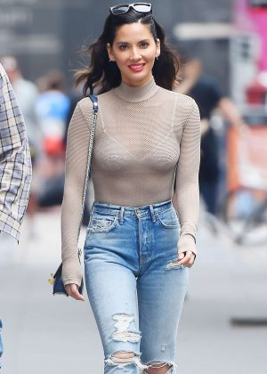Olivia Munn in Ripped Jeans out in NYC