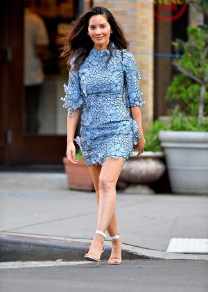 Olivia Munn in Short Blue Floral Dress out in New York