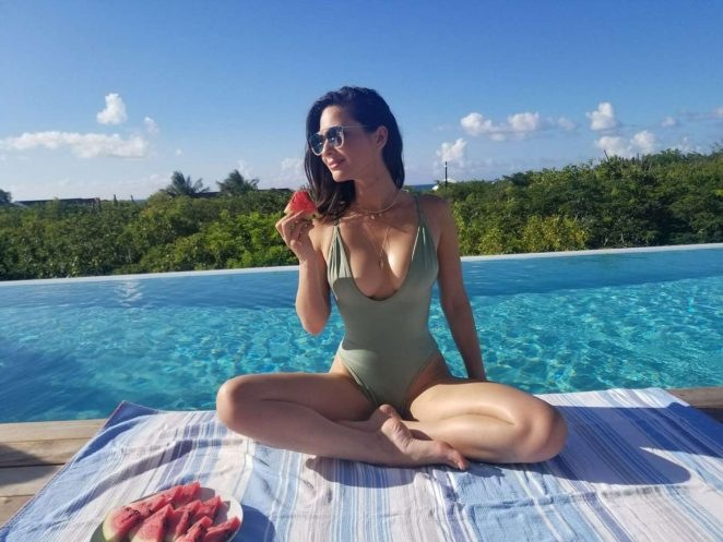 Olivia Munn in Swimsuit Celebrates Her 37th Birthday in Miami