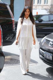 Olivia Munn in White Outfit - Out and about in New York