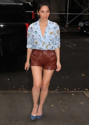 Olivia Munn - Leggy in leather shorts while arriving in the rain outside The Chew in New York City