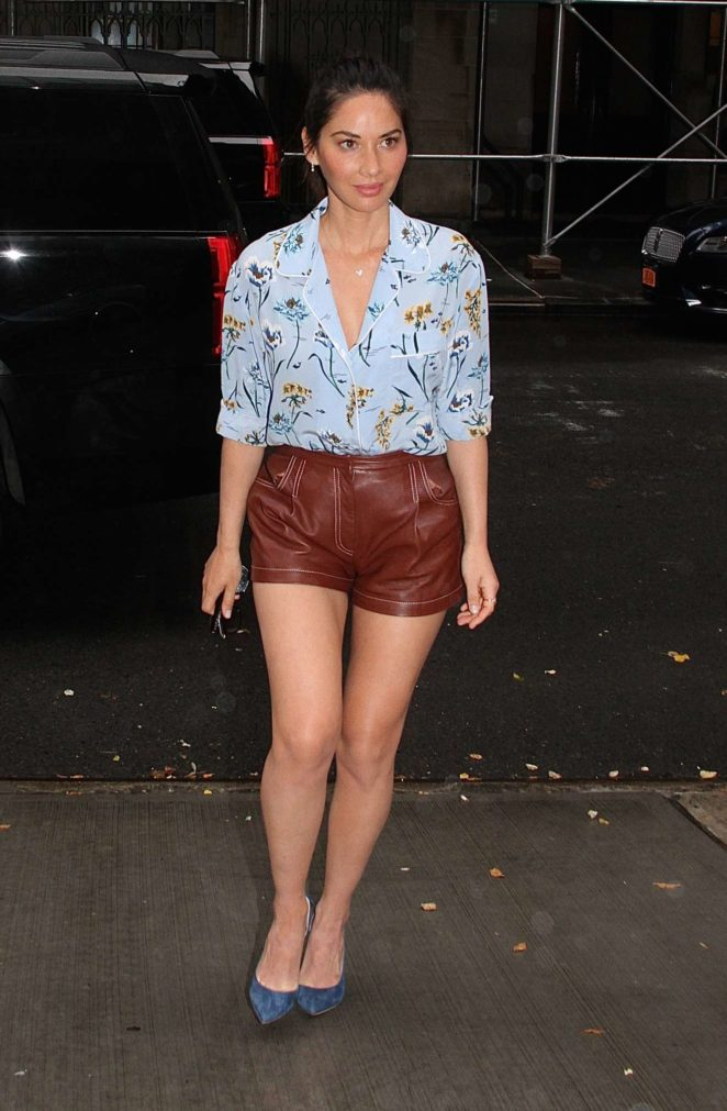 Olivia Munn – Leggy in leather shorts while arriving in the rain outside The Chew in New York City