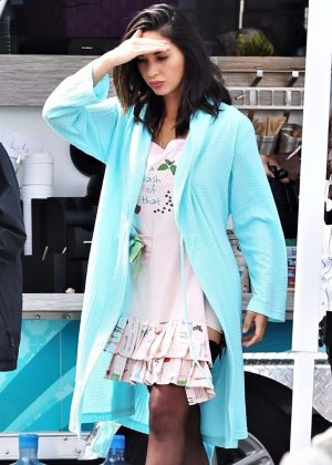 Olivia Munn on the set of 'The Buddy Games' in Vancouver