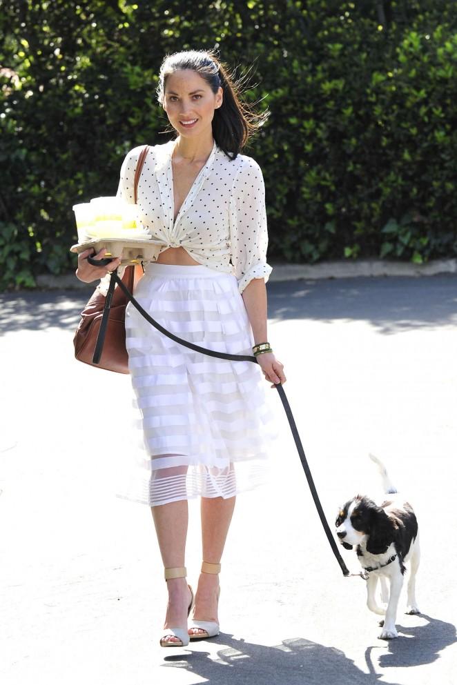 Olivia Munn - Walking her dog in LA