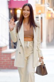 Olivia Munn - Wears a brown crop top in New York City