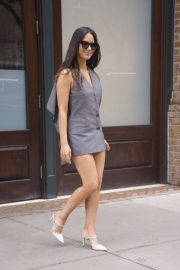 Olivia Munn - Wears a vest-inspired dress heading out of her hotel in NYC