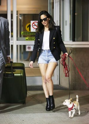Olivia Munn with her dogs arriving in Vancouver