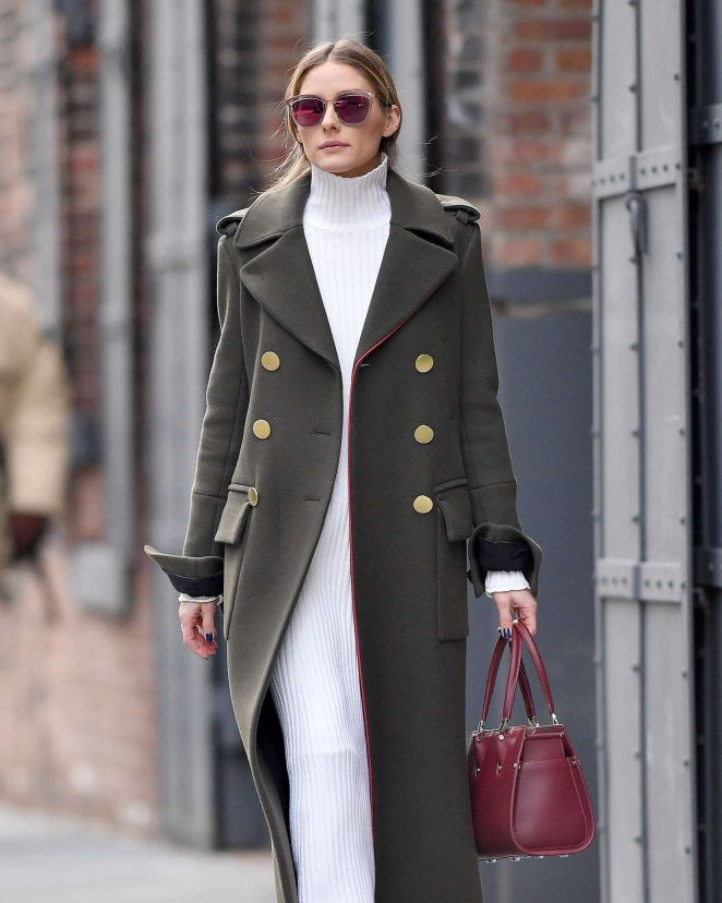 Olivia Palermo in a green coat out in Brooklyn