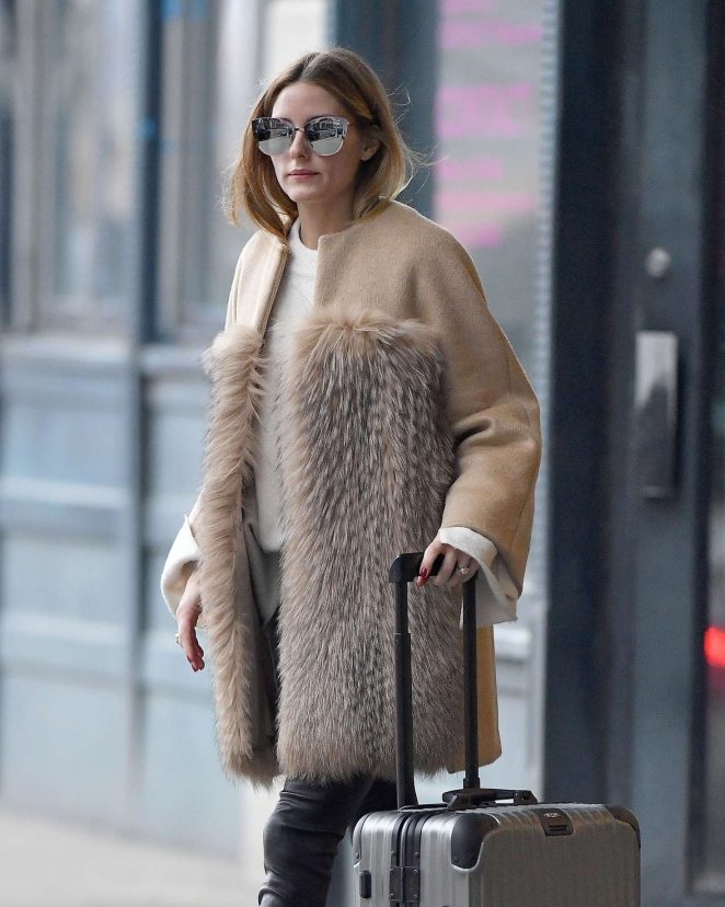 Olivia Palermo in Beige Fur Coat out in Brooklyn