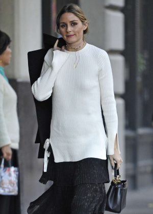 Olivia Palermo in Black Long Skirt out in New York