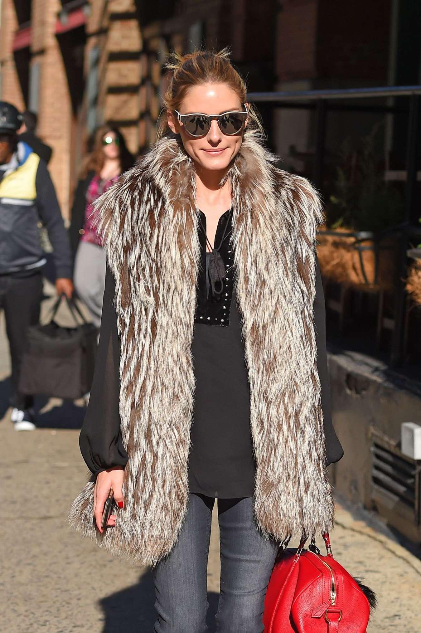 Olivia Palermo in Fur Coat at Tribeca in New York City