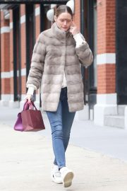Olivia Palermo in Fur Coat - Out in New York City