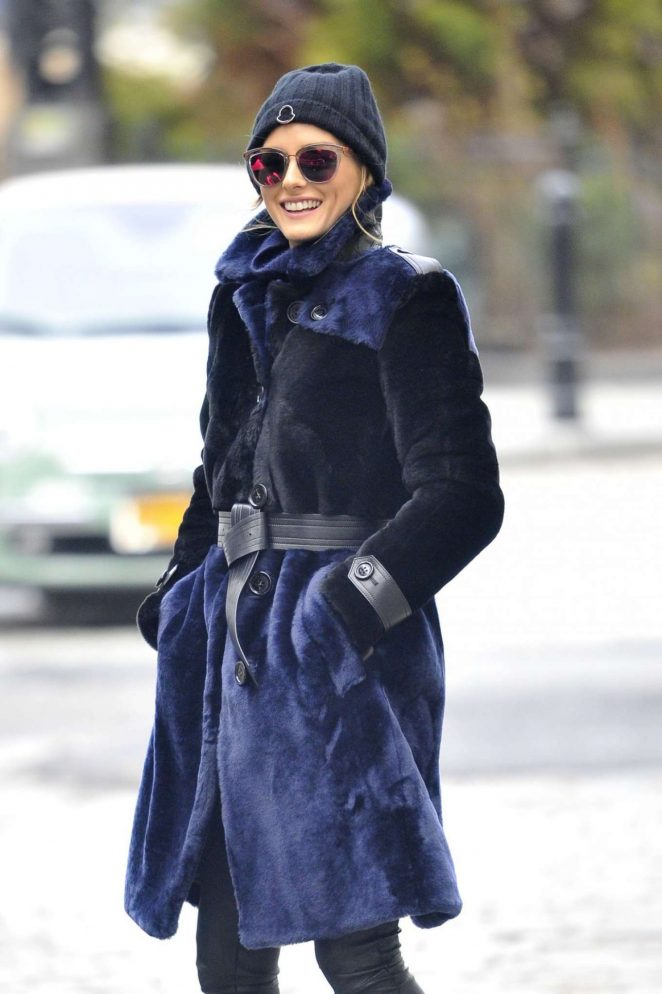 Olivia Palermo in Fur Coat Out in New York -02