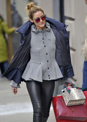 Olivia Palermo in Leathe Pants Out in New York