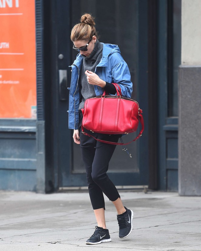 Olivia Palermo in Leggings Out in NYC