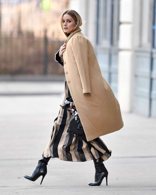 Olivia Palermo in Long Coat Out in New York