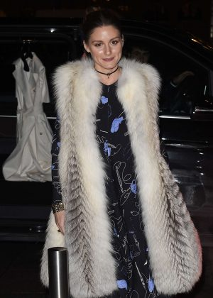 Olivia Palermo in Long Fur Coat at the Ritz hotel in Paris