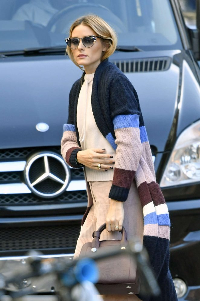 Olivia Palermo in patterned sweater out in New York