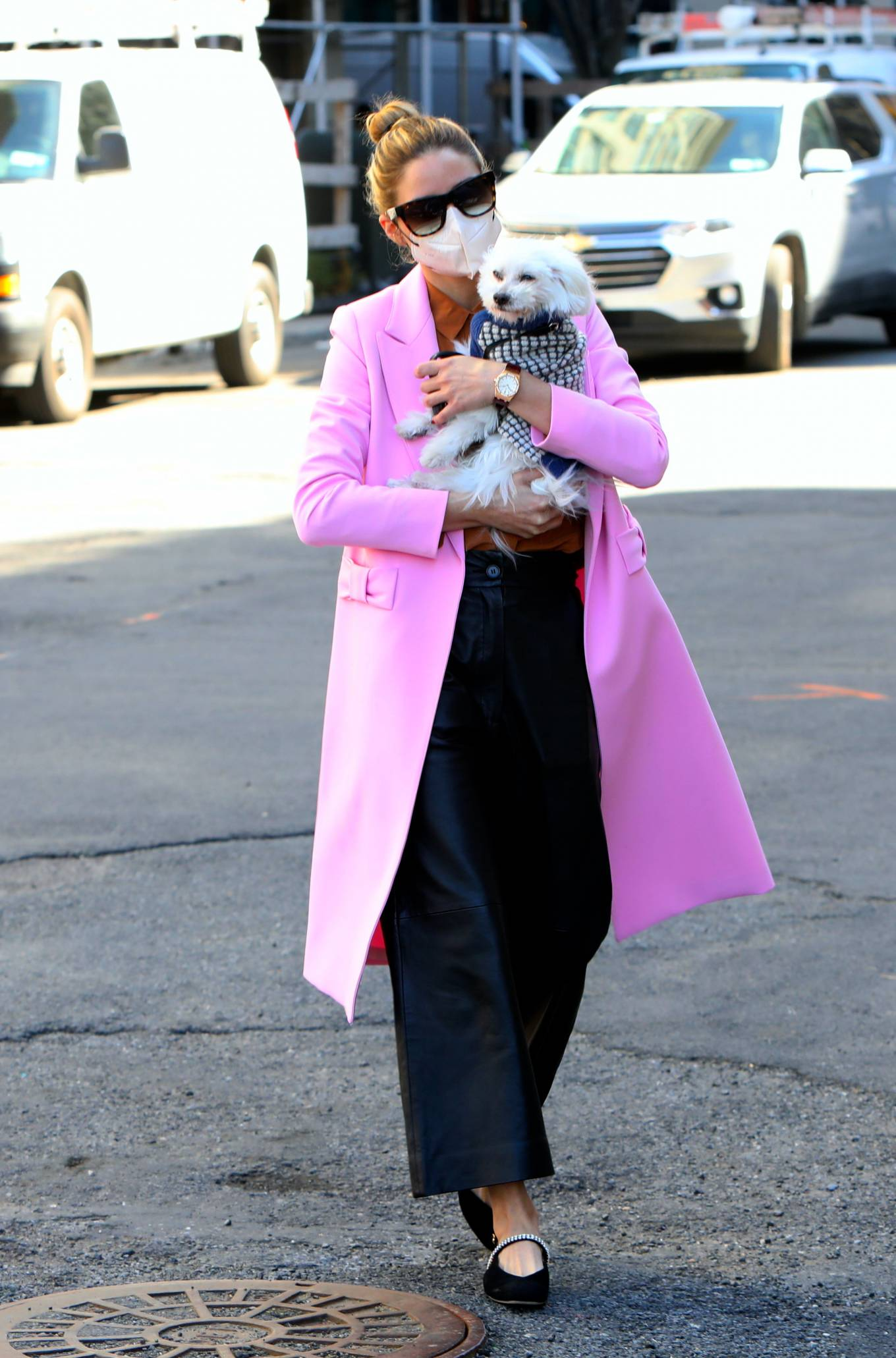 Olivia Palermo - In pink coat as she takes her dog Mr Butler out for a walk in Brooklyn