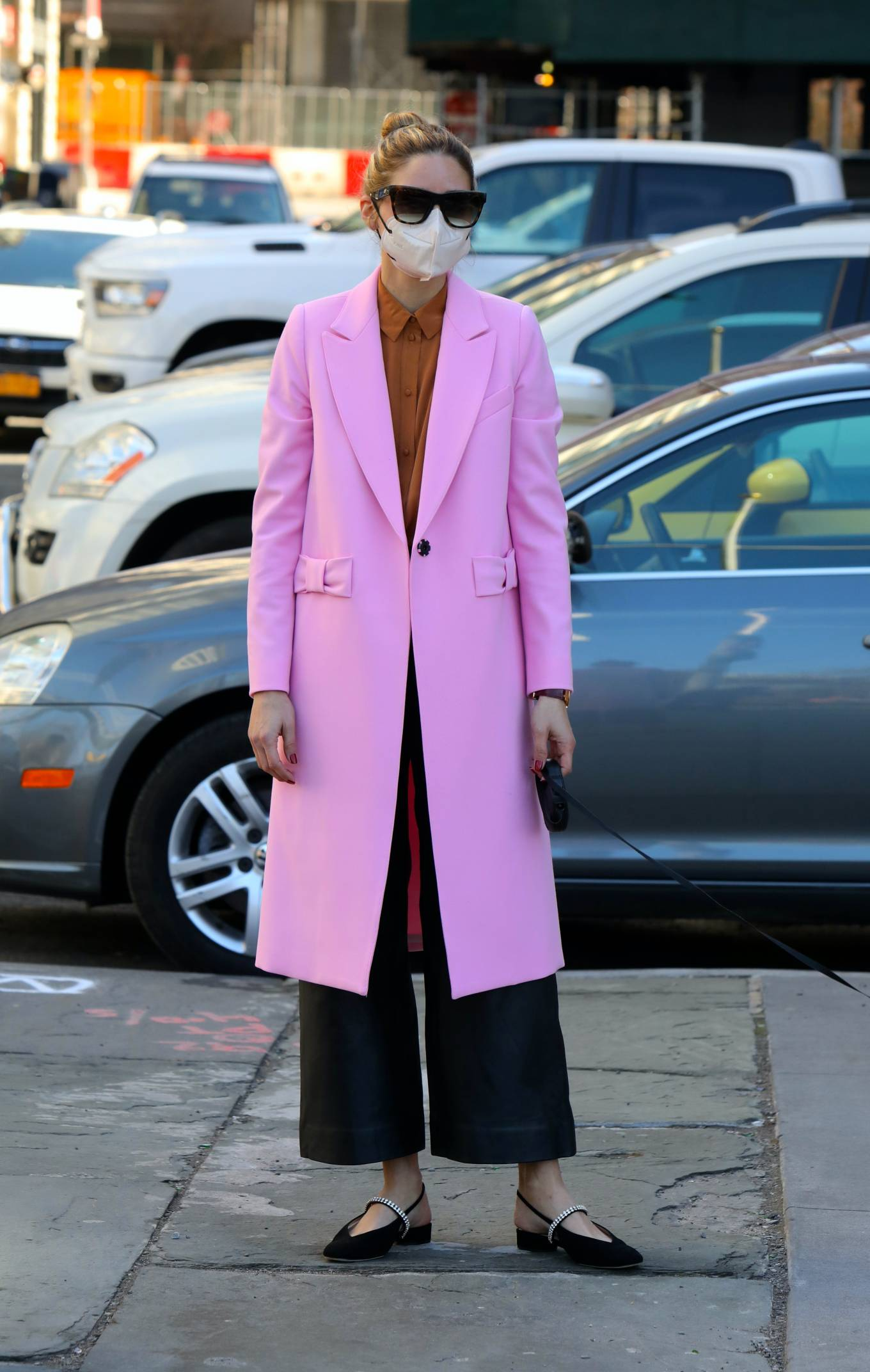 Olivia Palermo 2021 : Olivia Palermo – In pink coat as she takes her dog Mr Butler out for a walk in Brooklyn-02