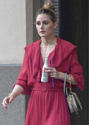 Olivia Palermo in Red Dress out in New York City