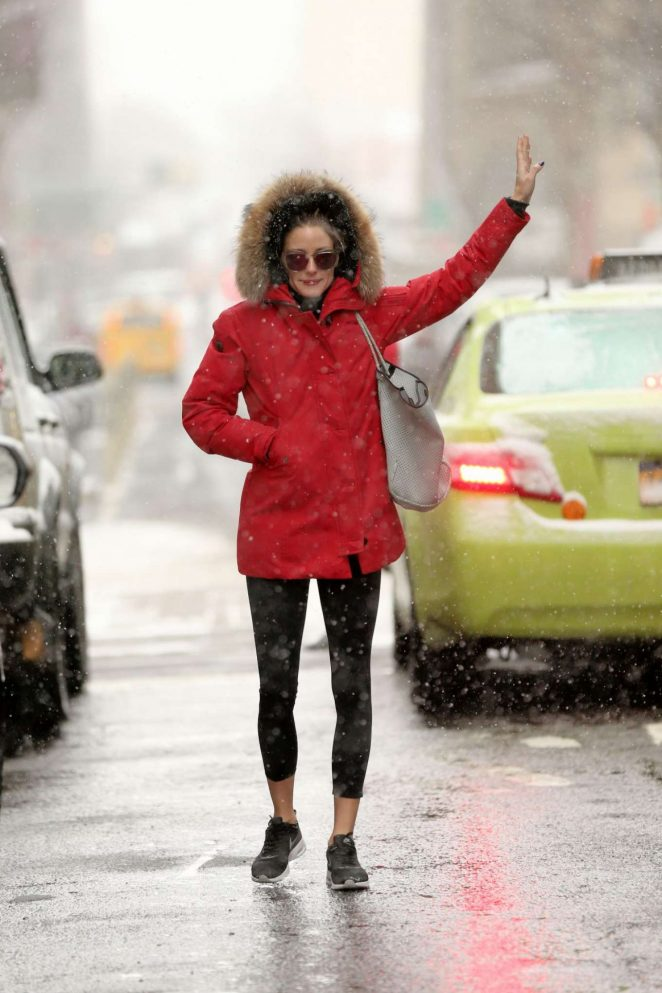 Olivia Palermo in Red Jacket Hailing a Cab in New York