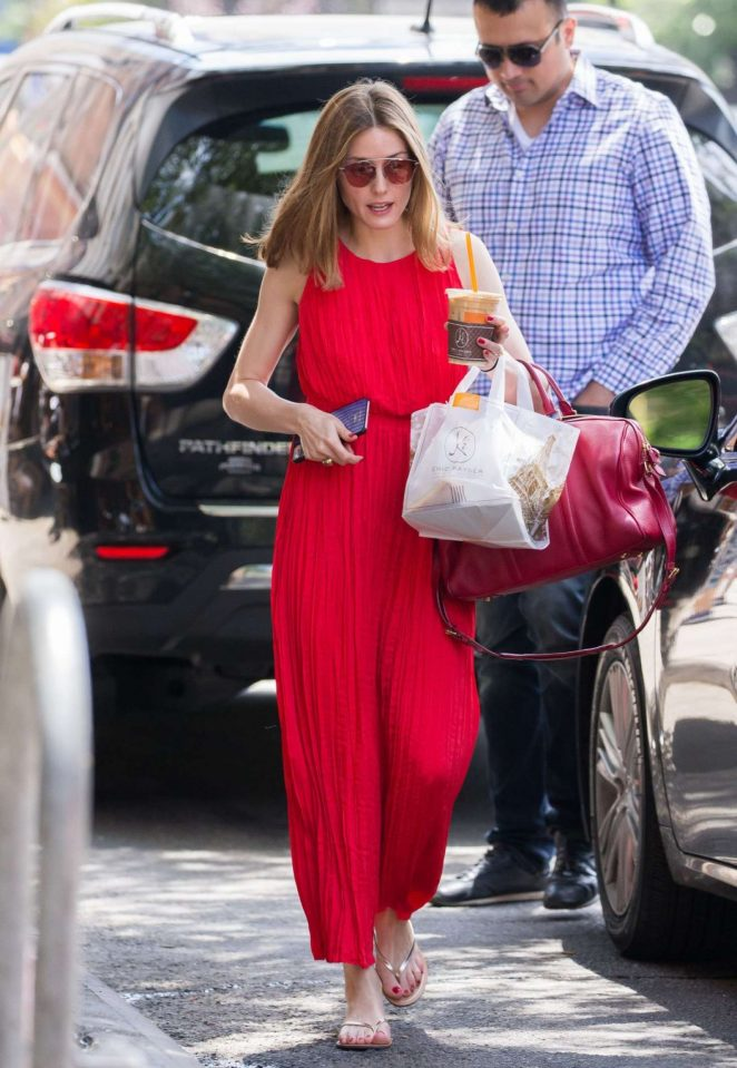Olivia Palermo in Red Long Dress Out in New York