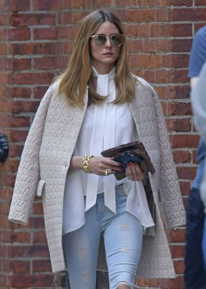 Olivia Palermo in Ripped Jeans Out in New York