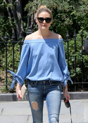 Olivia Palermo in Ripped Jeans out in NYC