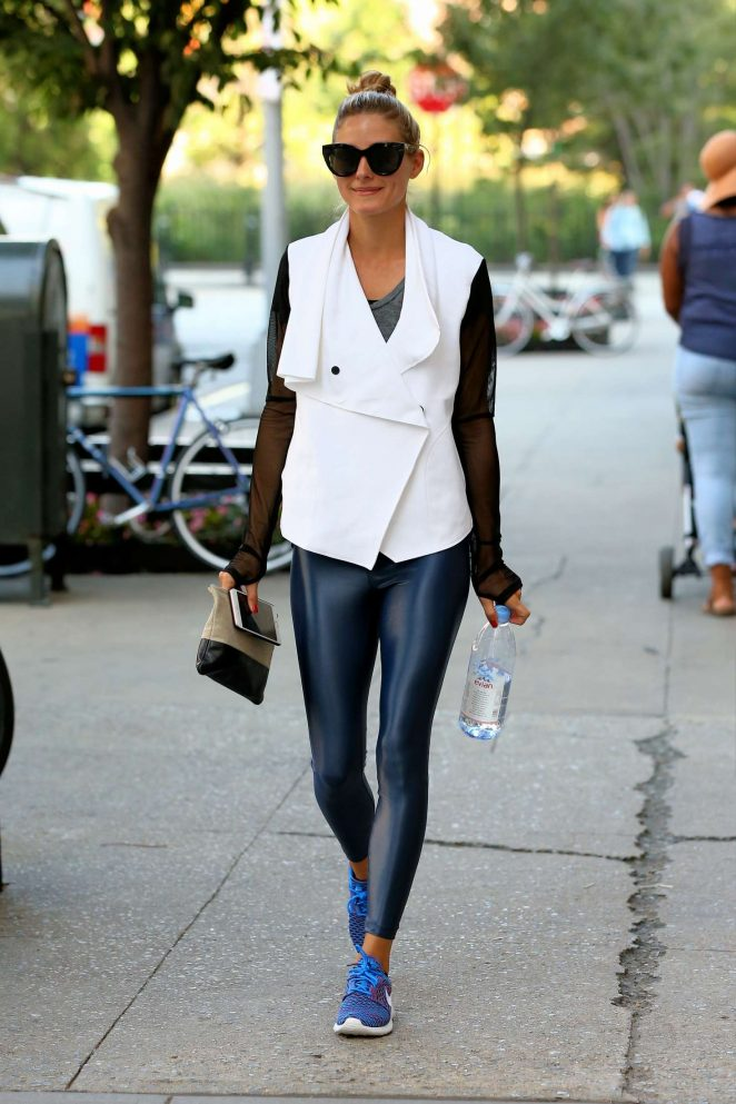 Olivia Palermo in Spandex Walks to The Gym in New York City