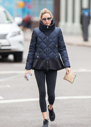 Olivia Palermo isn Tights Leaving a gym in NYC