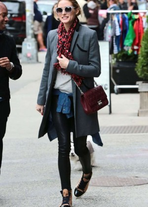 Olivia Palermo in Leather Pants out in NYC