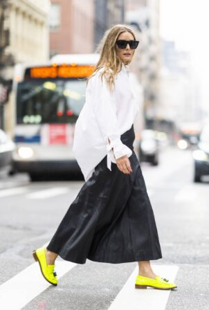 Olivia Palermo - Seen wearing a long black leather skirt while out in NYC