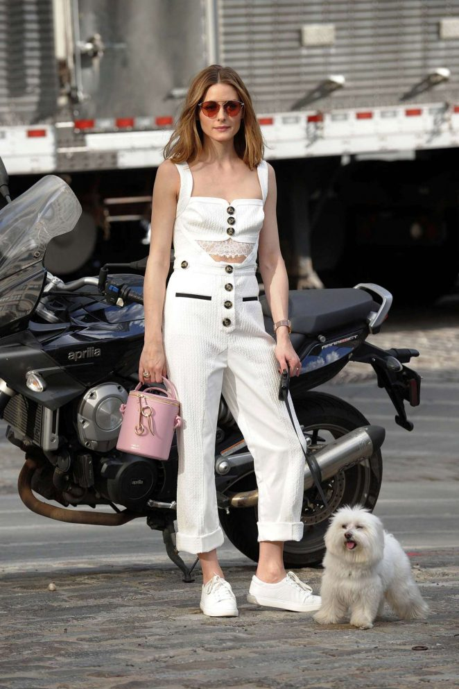 Olivia Palermo taking her dog out for a walk in Brooklyn