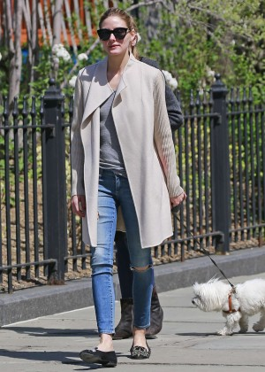 Olivia Palermo walking her dog in Brooklyn